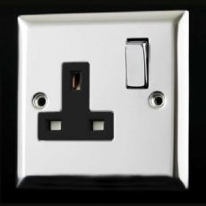 Varilight 1 Gang 13 Amp Switched Electrical Plug Socket Mirror Chrome Dec Switch Black Insert XC4DB